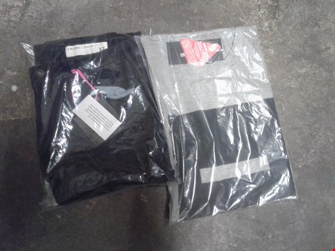 Lot 884 A BOX OF APPROXIMATELY 14 ITEMS TO INCLUDE A PAIR OF BLACK TROUSERS AND A GREY SHIRT