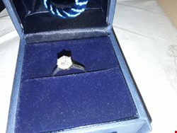 Lot 2401 MOSSANITE 9CT WHITE GOLD SOLITARE RING RRP £499