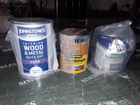 Lot 1013 DULUX QUICK DRYGLOSS URBAN OBSESSION 750ML, JOHNSTONE'S INTERIOR WOOD AND METAL QUICK DRY SATIN BRILLIANT WHITE 1.25L, RONSEAL WOODSTAIN NATURAL OAK 750ML