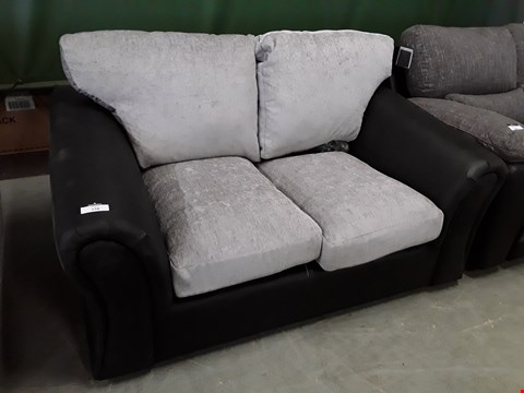 Lot 50 DESIGNER BLACK FAUX LEATHER & SILVER FABRIC TWO SEATER SOFA