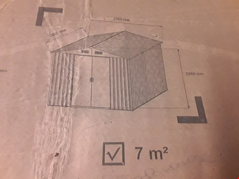 Lot 33 BOXED GALVANISED STEEL 7M GARDEN SHED