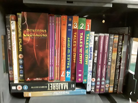 Lot 38 BOX OF APPROXIMATELY 25 ASSORTED DVD'S TO INCLUDE MAD MEN, LES MISERABLES, STAR WARS ETC