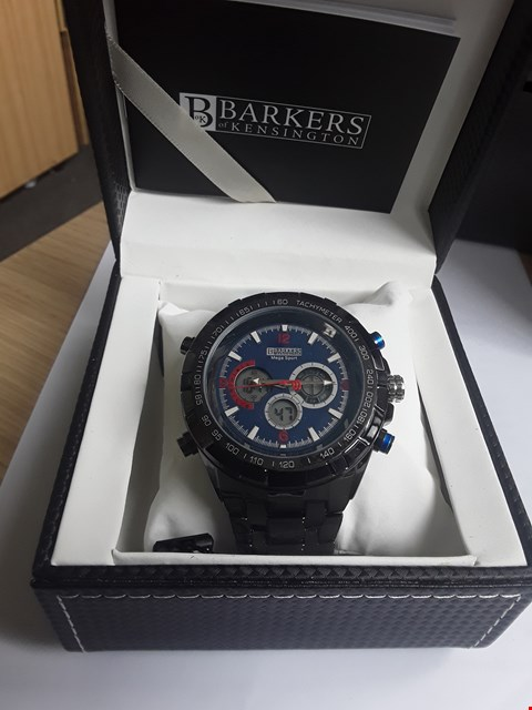 Lot 63 BRAND NEW DESIGNER BARKERS OF KENSINGTON MEGA SPORT BLUE GENTLEMAN'S CHRONOGRAPH