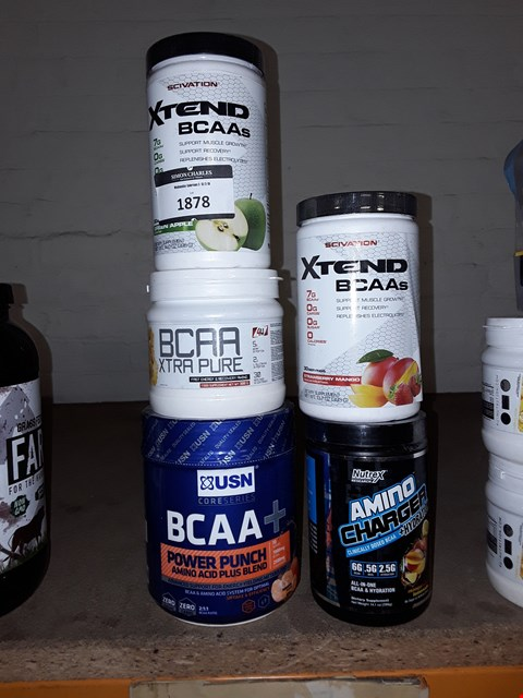 Lot 1878 LOT OF 5X SUPPLEMENTS TO INCLUDE XTEND BCAAS STRAWBERRY AND MANGO AND BCAA XTRA PURE ECT.