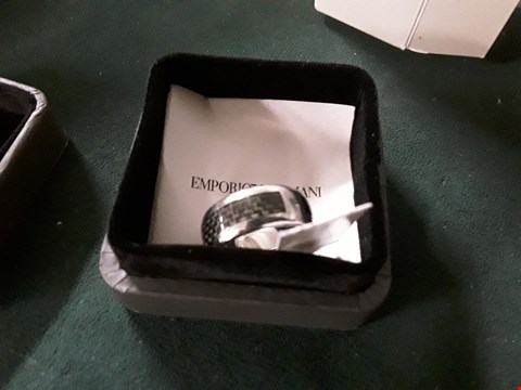 Lot 215 EMPORIO ARMANI STAINLESS STEEL MENS RING (SIZE V) RRP £119.00