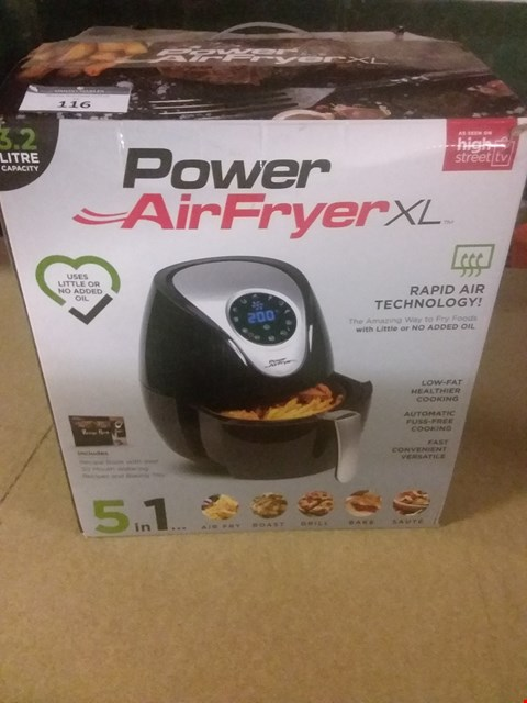 Lot 116 POWER AIR FRYER XL 3.2 LITRE - CHIP FRYER, PORTABLE OVEN, OIL FREE HOT AIR HEALTH FRYER WITH BAKING TRAY (1500W) BLACK