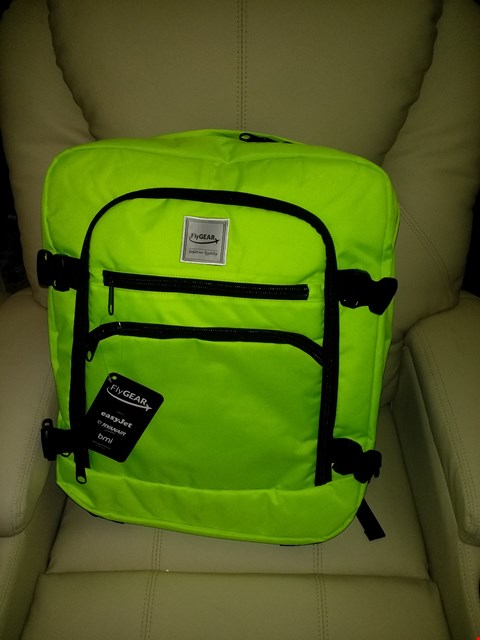 Lot 9135 BOX OF APPROXIMATELY 15 FLYGEAR SUPER-LIGHTWEIGHT CABIN APPROVED BACKPACK IN NEON GREEN