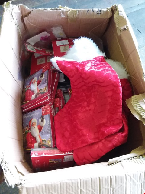 Lot 644 LOT OF 2 BOXES OF ASSORTED CHRISTMAS ACCESSORIES TO INCLUDE BAUBLE SETS, GREETINGS CARDS, STOCKINGS ETC