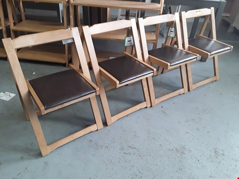 Lot 395 SET OF FOUR NATURAL WOOD & BROWN PU UPHOLSTERED FOLDING DINING CHAIRS