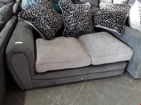 Lot 8 TWO TONE GREY FABRIC TWO SEATER SECTION WITH SCATTER CUSHIONS