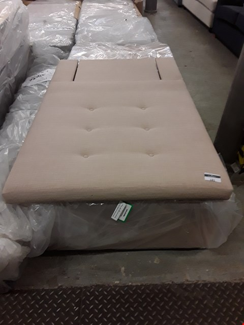 Lot 117 QUALITY HAND MADE SAND FABRIC SINGLE OTTOMAN BED BASE AND HEADBOARD