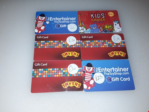 Lot 5 6 ASSORTED TOY SHOP GIFT CARDS, INCLUDING SMYTHS, THE ENTERTAINER AND KIDS' CHOICE.  TOTAL VALUE £125