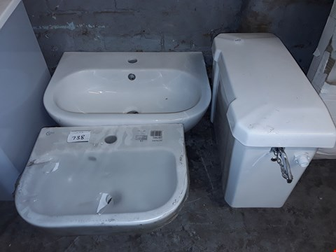 Lot 738 LOT OF 3 BATHROOM ITEMS TO INCLUDE 2 CERAMIC BASINS AND OVER TOILET CISTERN