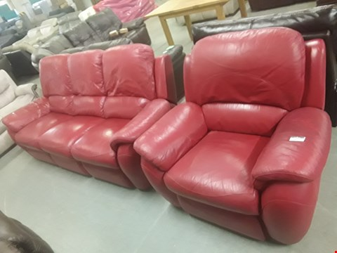 Lot 648 QUALITY MADE ATLANTA CHILLI RED LEATHER THREE SEATER MANUALLY RECLINING SOFA AND MATCHING POWER RECLINING ARMCHAIR RRP £1799.99