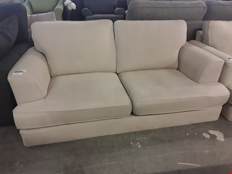 Lot 97 QUALITY BRITISH DESIGNER COPENHAGEN NATURAL FABRIC TWO SEATER SOFA