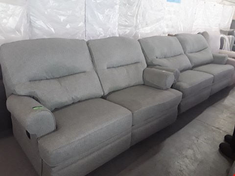Lot 89 QUALITY BRITISH DESIGNER GREEN WEAVE MANUAL RECLINING 2 AND 3 SEATER SOFAS