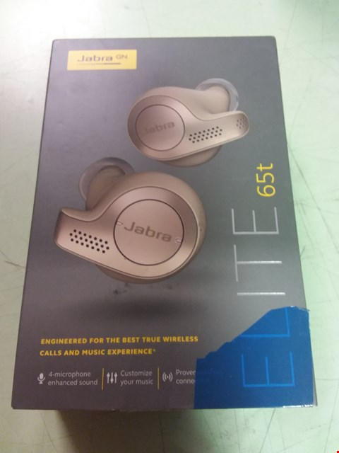 Lot 152 JABRA ELITE 65T TRUE WIRELESS BLUETOOTH EARBUDS AND CHARGING CASE WITH ALEXA BUILT-IN, GOLD BEIGE