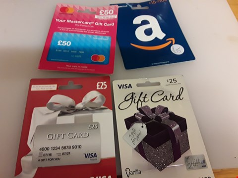 Lot 52 6 ASSORTEC GIFT CARDS AND VOUCHERS TO INCLUDE APP STORE &ITUNES, AMAZON, VISA AND MASTERCARD TOTAL VALUE £165