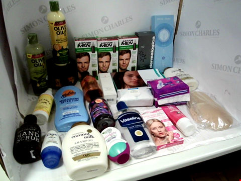 Lot 11035 LOT OF ASSORTED HEALTH & BEAUTY PRODUCTS TO INCLUDE: JUST FOR MEN SHAMPOO-IN HAIR COLOUR, ORS SHAMPOO & CONDITIONER, VASELINE HAIR TONIC, ASSORTED BATHROOM & MAKEUP PRODUCTS