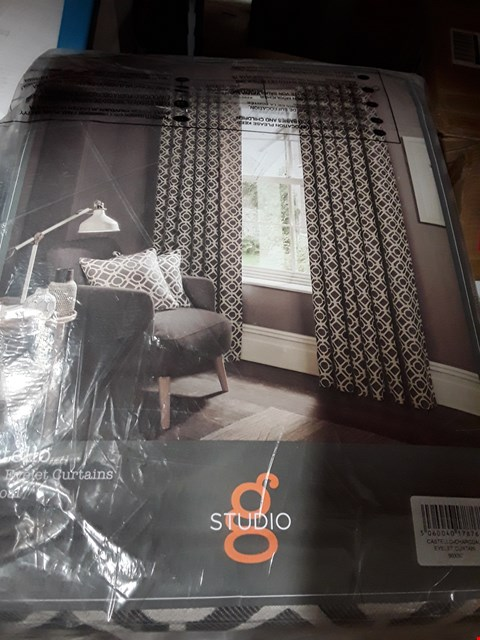 Lot 1779 BRAND NEW CASTELLO LINED EYELET CURTAINS 90 X 90 CHARCOAL RRP £240