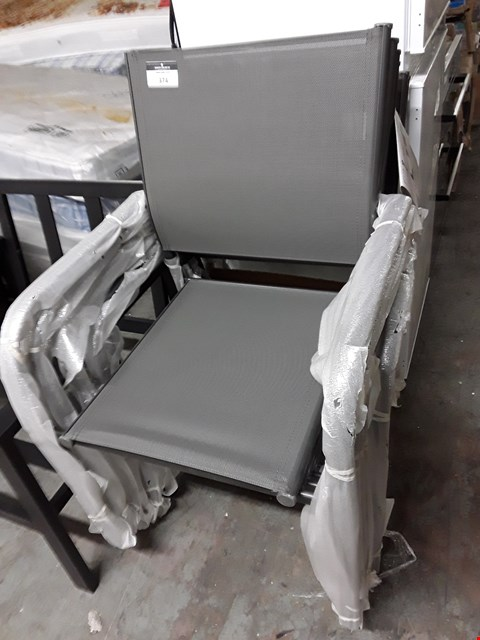 Lot 374 LOT OF 6 DALLAS GREY/BLACK GARDEN CHAIRS