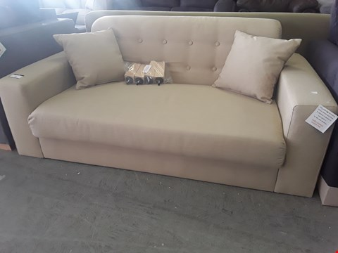 Lot 71 DESIGNER SAND FABRIC TWO SEATER SOFA WITH SCATTER CUSHIONS