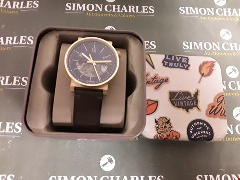 Lot 1266 FOSSIL BARSTOW BLUE AND ROSE GOLD DETAIL LEATHER STRAP WRISTWATCH  RRP £265.00