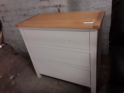 Lot 7099 DESIGNER GREY CHEST OF THREE DRAWERS WITH OAK TOP
