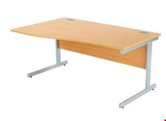 Lot 8044 BRAND NEW BOXED OCTET PLUS LEFT HAND 1600MM WAVE WORKSTATION - BEECH WITH SILVER FRAME REF ZFPW1610(L)BCH