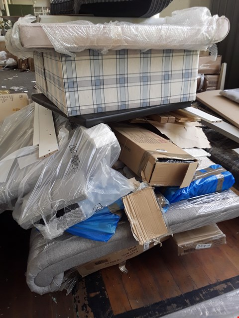 Lot 7064 PALLET OF ASSORTED BOXED BED PARTS, DIVAN BASE SECTION, GREY FABRIC SCROLL HEADBOARD,