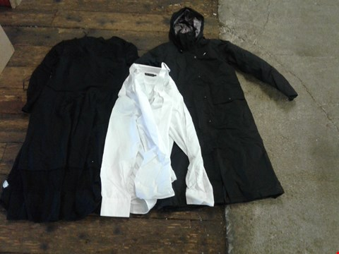 Lot 218 BOX OF APPROXIMATELY 15 CLOTHING ITEMS TO INCLUDE WHITE POLO SHIRT, BLACK COAT AND BLACK MAXI DRESS - VARIOUS SIZES