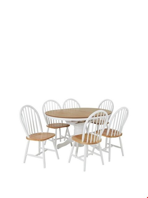 Lot 58 BRAND NEW BOXED KENTUCKY NATURAL DINING TABLE WITH 6 CHAIRS (3 BOXES) RRP £469.99