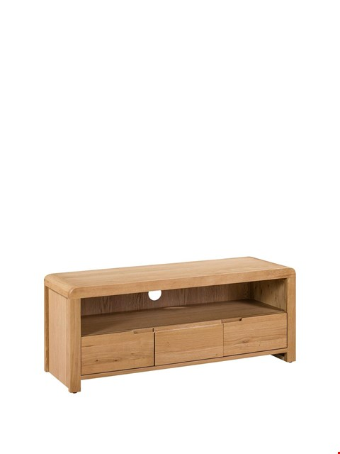 Lot 3605 BOXED CURVED OAK LOOK TV UNIT (1OF1)