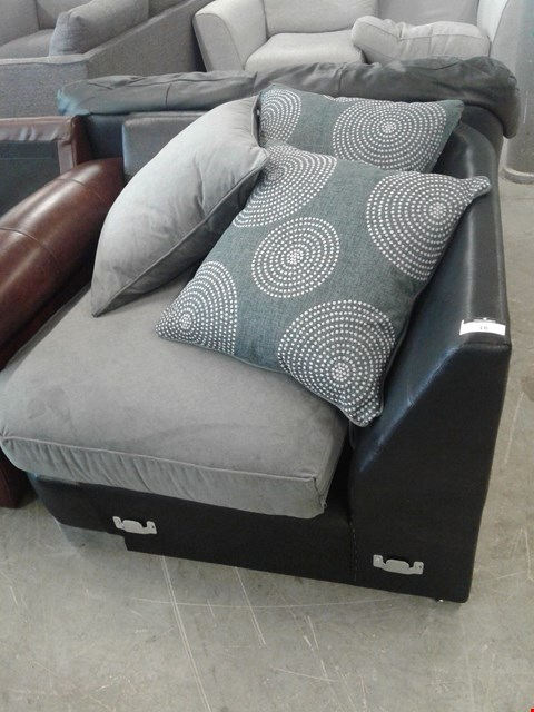 Lot 16 DESIGNER BLACK FAUX LEATHER AND GREY FABRIC CORNER SECTION