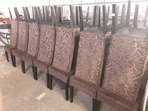 Lot 20 APPROXIMATELY 38 PATTERNED FABRIC ARMLESS DINING CHAIRS