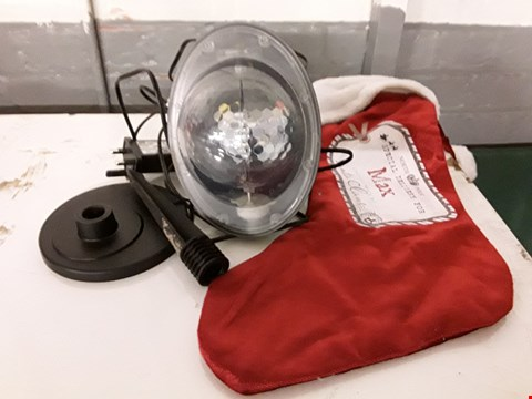 Lot 1157 LOT OF 4 ASSORTED ITEMS TO INCLUDE LED SNOWFALL LIGHT PROJECTOR, 3 PERSONALISED CHRISTMAS STOCKINGS