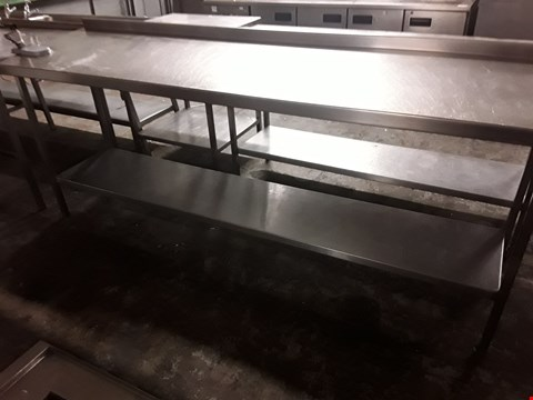 Lot 86 LARGE RECTANGULAR METAL WORK TABLE WITH UNDERSHELF & TIN OPENER