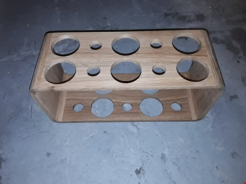Lot 232 BOXED DESIGNER WOODEN WALL MOUNTED WINE RACK
