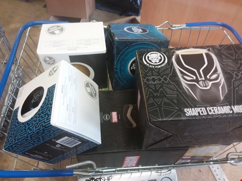 Lot 658 8 BRAND NEW ITEMS TO INCLUDE A READY PLAYER ONE HEAT CHANGE MUG, A BLACK PANTHER SHAPED CERAMIC MUG AND A SUPER MARIO KART HEAT CHANGE MUG. BASKET NOT INCLUDED