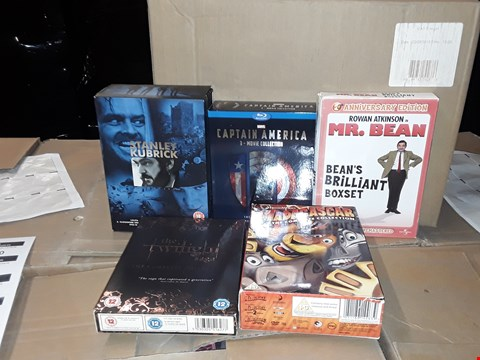 Lot 4143 JOB LOT OF ASSORTED CD/DVD BOXSETS , BOOKS AND GAMES TO INCLUDE STANLEY KUBRICK,  CAPTAIN AMERICA, MR BEAN(4 BOXES)