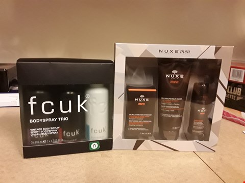 Lot 2028 LOT OF 2 ITEMS TO INCLUDE FCUK BODY SPRAY DUO SET AND NUXE PARIS MEN MEN'S MUST HAVES SET