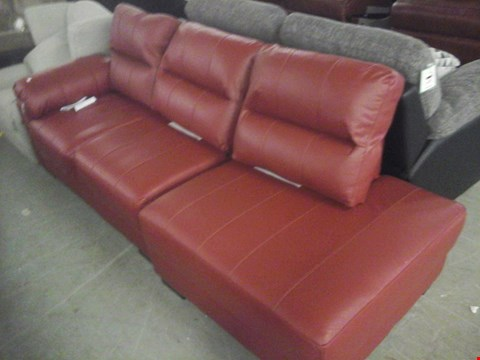 Lot 93 2 X DESIGNER RED LEATHER SOFA SECTIONS