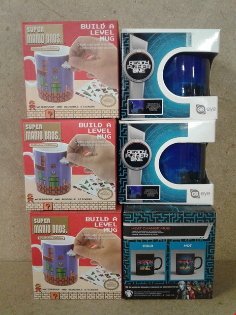 Lot 472 6 BRAND NEW MUGS TO INCLUDE 3 SUPER MARIO BROS BUILD A LEVEL MUG AND 3 PLAYER ONE READY MUGS