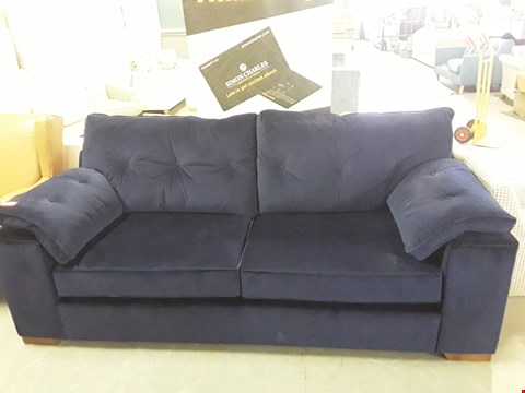 Lot 218 QUALITY BRITISH DESIGNER BLUE PLUSH VELVET 3 SEATER SOFA WITH BUTTON BACK DETAIL