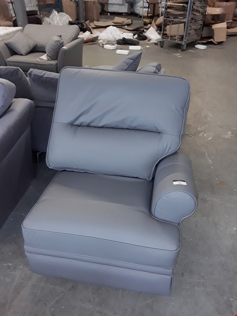 Lot 83 QUALITY BRITISH DESIGNER GREY LEATHER POWER RECLINING SOFA SECTION