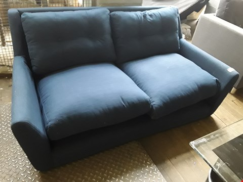 Lot 45 DESIGNER BLUE FABRIC TWO SEATER SOFA
