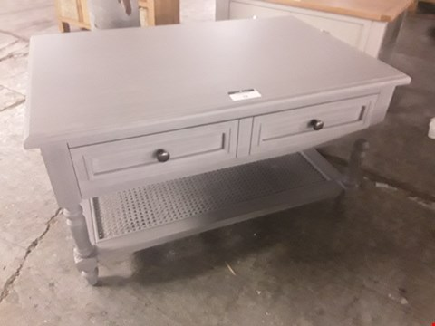 Lot 72 DESIGNER GREY RECTANGULAR COFFEE TABLE FITTED 2 DRAWERS