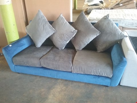 Lot 4144 DESIGNER BLUE AND GREY FABRIC 3 SEATER SOFA AND 5 ASSORTED SECTIONS