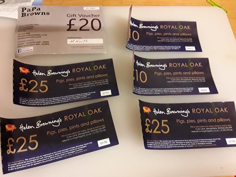 Lot 49 6 ASSORTED GIFT VOUCHERS TO INCLUDE PAPA BROWNS AND HELEN BROWNING'S ROYAL OAK TOTAL VALUE £115