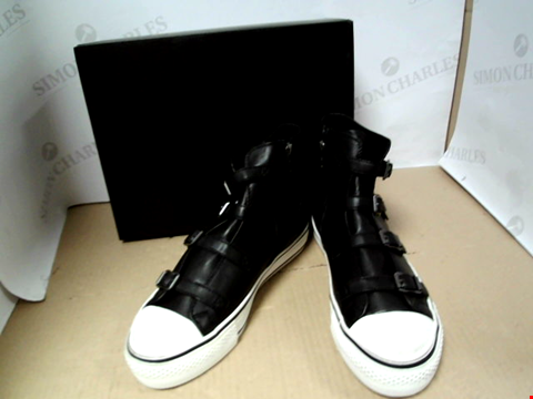 Lot 7077 ASH VIRGIN NAPPA LEATHER HIGH TOP BLACK TRAINERS - SIZE 7 UK
